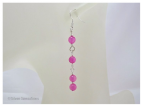 Rose Pink Jade & Silver Plated Long Drop Fashion Earrings | Silver Sensations